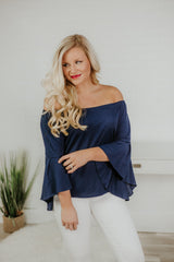 Nellie Knit Off Shoulder Bell Sleeve Top ~ Navy