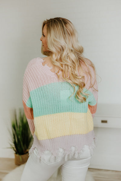{LAST CHANCE} My Miracle Distressed Sweater ~ L PInk Stripes