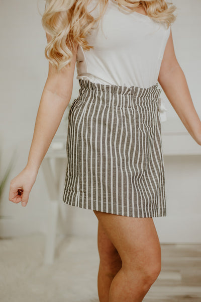 Selina Stripe Skort ~ Black