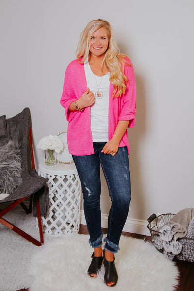 *NEW* Warm Like Summer Cardigan ~ Hot Pink
