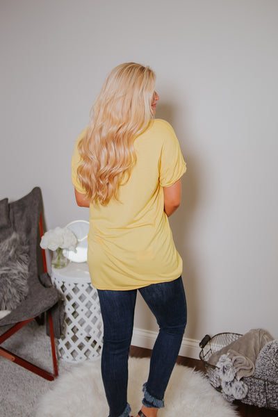 {Last Chance} Casual Boyfriend Pocket Tee ~ Yellow