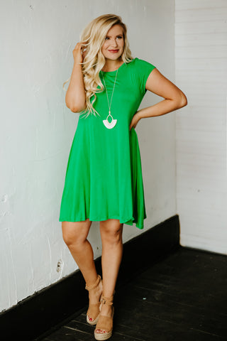 {Last Chance} Sassy Swing A Line Tunic Dress ~ Green *FINAL SALE*