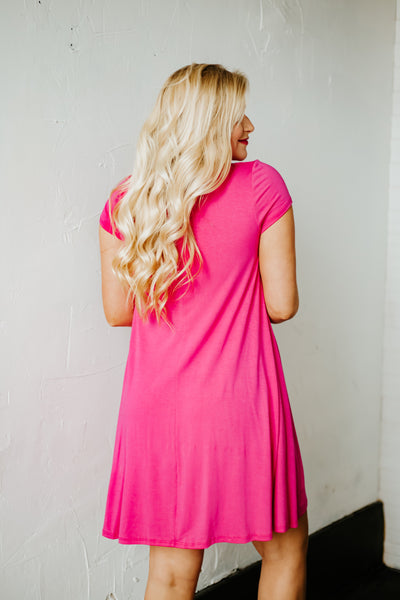 {Last Chance} Sassy Swing A Line Tunic Dress ~ Hot Pink  *FINAL SALE*
