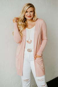 Elsie Everyday Long Knit Cardigan with Pockets ~ Dusty Pink