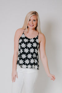 {LAST CHANCE} Whoopsie Daisy Tank ~ Black *FINAL SALE* - Be You Boutique