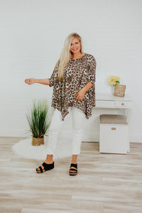 Andi Animal Print Poncho ~ Neutral