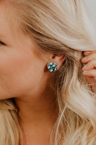 Be A Leopard Stud Earrings ~ Teal & White - ShopBeYouBoutique