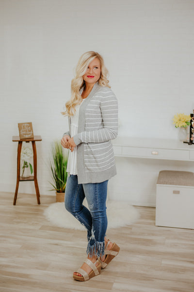 *NEW* Stripe Teacher Cardigan ~ H Grey & Ivory