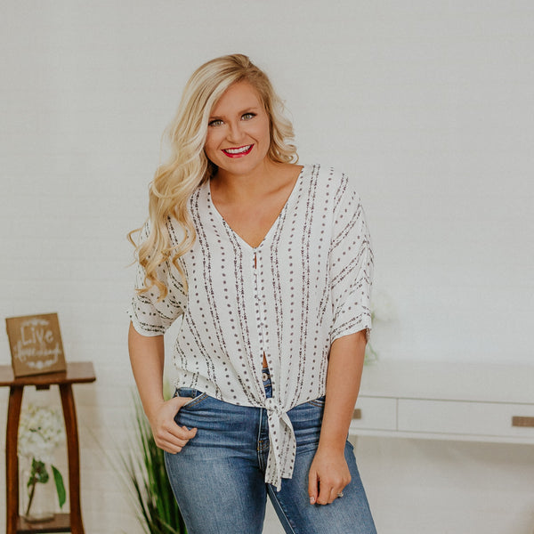 {LAST CHANCE} Whitney Kimono Tie front Top ~ Off  White *FINAL SALE* - Be You Boutique