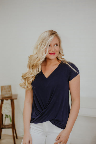 *NEW* Twist Of Fate Top ~ Navy