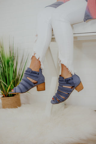 {Last Chance} Not Rated Cullie Ankle Booties ~ Blue *FINAL SALE* - Be You Boutique