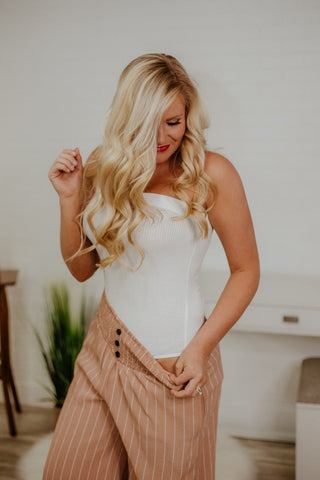 {LAST CHANCE}  Ribbed Tube Top Bodysuit ~ White