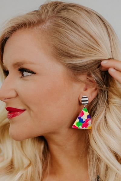 *NEW* Spring Is Here Clay Earrings ~Stripe & Brights