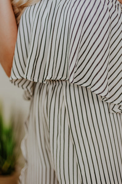 Sally Stripes Jumpsuit ~ Off White
