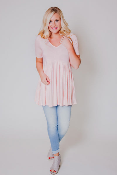 {Last Chance} Marta Baby Doll Tunic ~ Blush