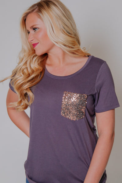 What's The Scoop Tee With Rose Gold Pocket ~ Plum
