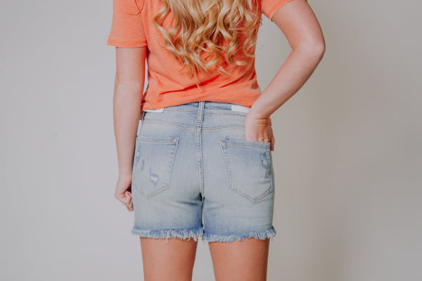 {Last Chance} Sandy Distressed Shorts ~ Light Denim