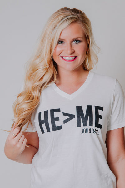 {LAST CHANCE} He > Me V Neck Graphic Tee ~ White