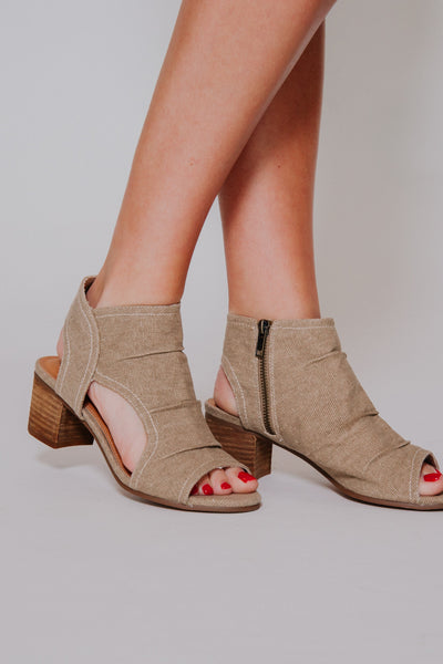 {Last Chance} Not Rated Anna Open Toe Bootie ~ Sand