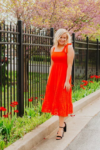*NEW* Tangie Midi Dress ~ Tangerine