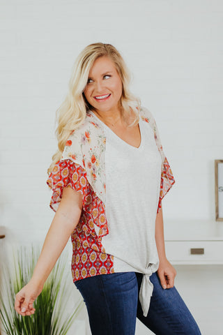 *NEW* Maggie Lou Twist Contrast Top ~ H Grey & Red