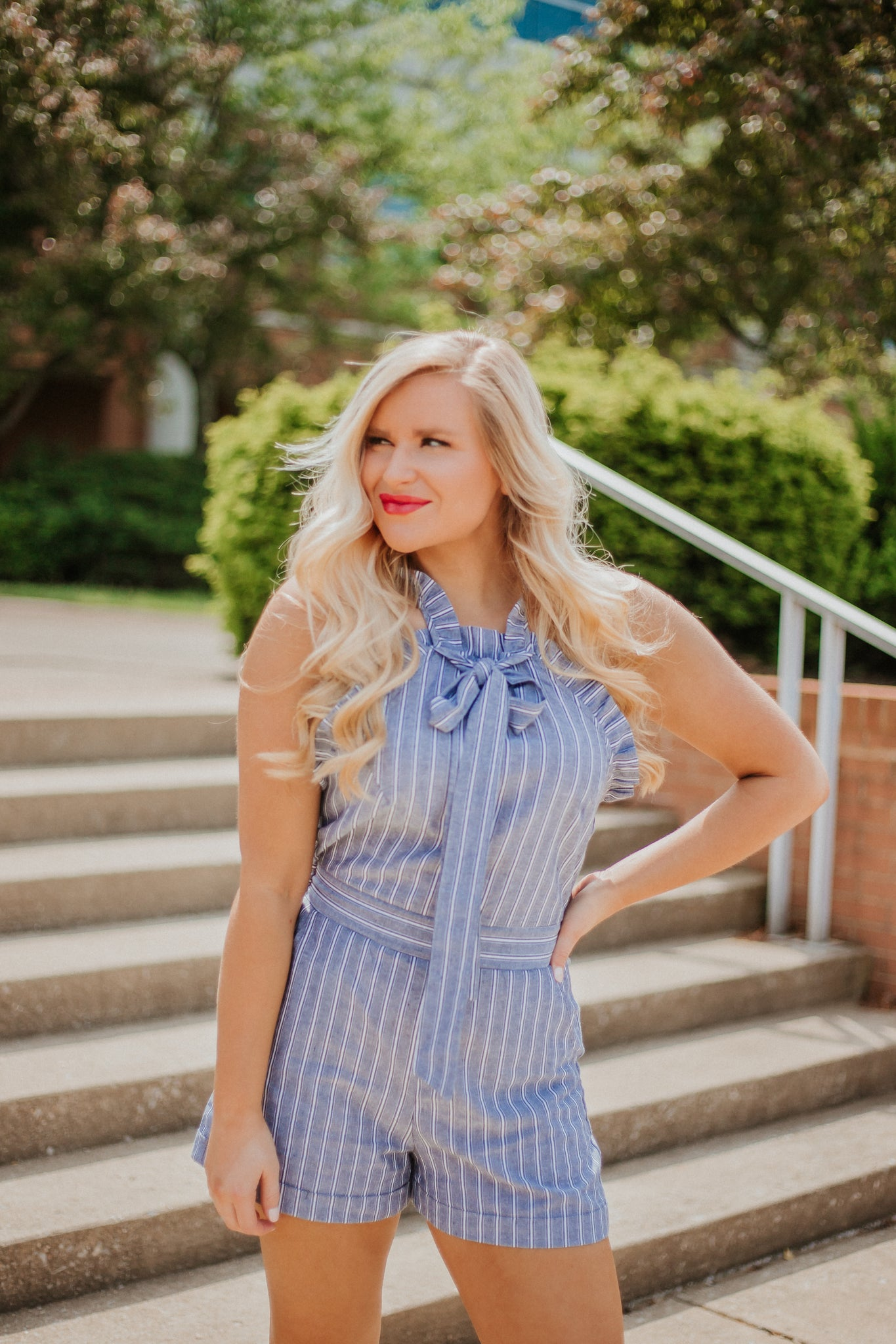{Last Chance} Stripe My Bow Romper ~ Denim *FINAL SALE* - Be You Boutique