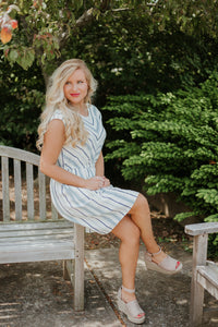 {Last Chance} Vicky V Neck Striped Dress ~ Navy *FINAL SALE* - Be You Boutique