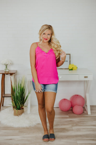 Brite Is Right Cami Top ~ Hot Pink