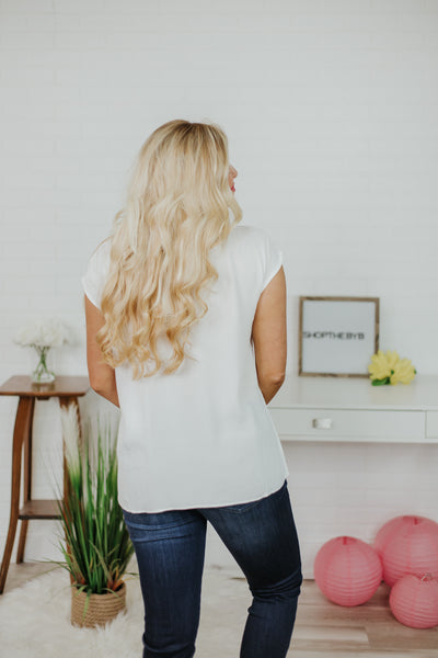 *NEW* Cut It Out V Neck Top ~ White
