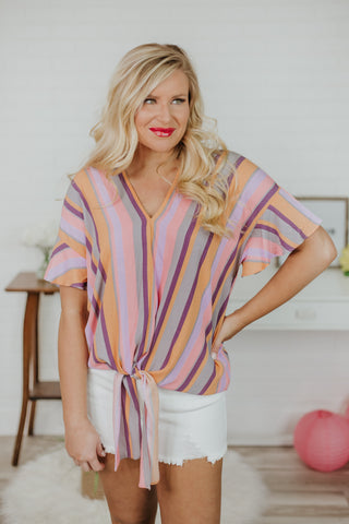 Sandra Striped Knot Top ~ Multi