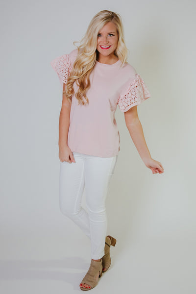 {Last Chance} Be My Eyelet Top ~ Misty Pink
