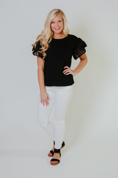 {Last Chance} Be My Eyelet Top ~ Black