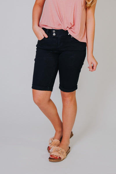 Let's Go To Bermuda Shorts ~ Black Denim