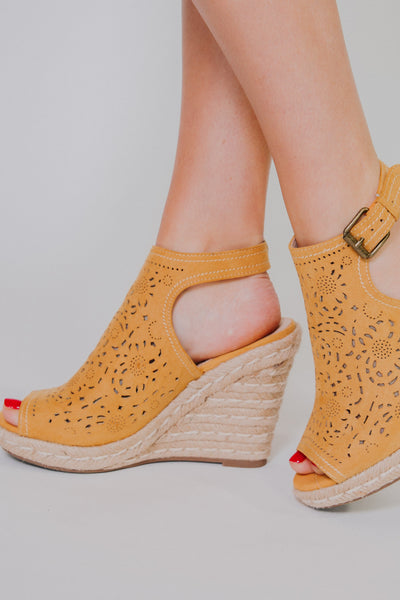 Not Rated Jobyna Wedges ~  Mustard