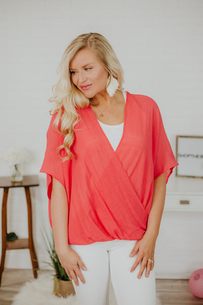 Go The Distance Poncho Blouse ~ Cherry Tomato