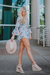 *NEW* I'm A Beauty Floral Print Romper with Flare Sleeves ~ Light Blue