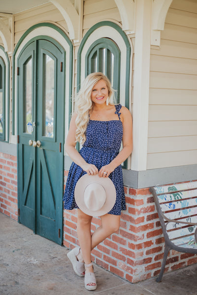 Precious Polka Dot Dress ~ Navy