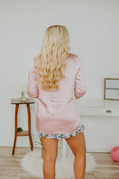 {Last Chance} Oh My Satin Tailored Pocket Blazer ~ Pink *FINAL SALE* - Be You Boutique