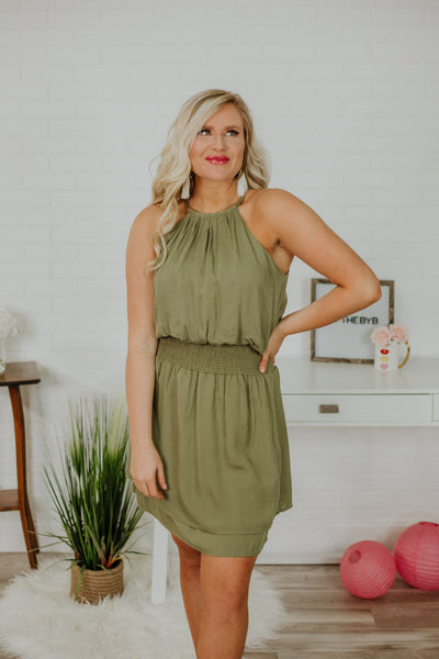 Lisa Sleeveless Dress with Smocked Waist ~ Olive