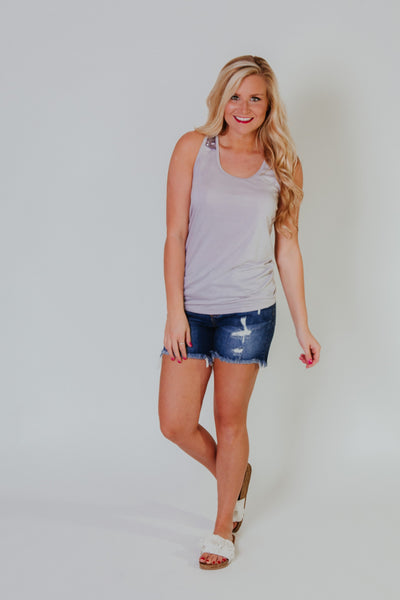{Last Chance} Summer Sparkle Tank ~ Gray