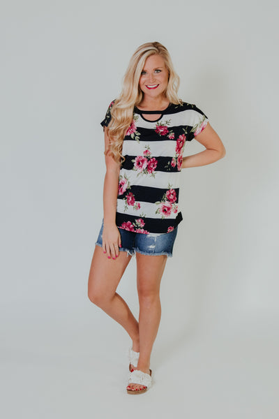 Striped Roses Top ~ Navy