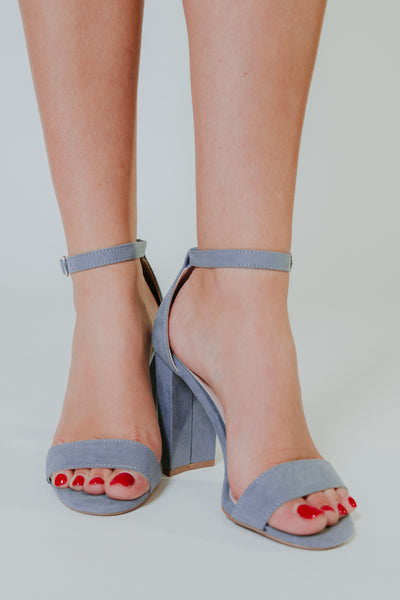 {Last Chance} Cashmere Sue Heels ~ Sea Grey Blue