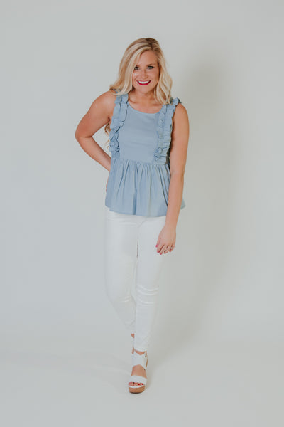 Krissie Ruffle Top ~ Blue