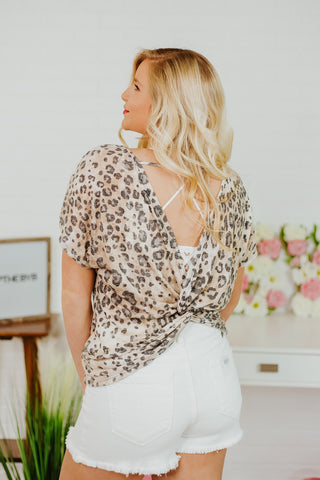 {Last Chance}  Charleigh Leopard Open Back Top ~ Leopard - Be You Boutique