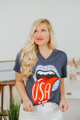 *NEW* Patriotic Star Lips V Neck Graphic Tee