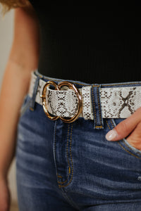 Bianca Leather Belt ~ White Snake - Be You Boutique