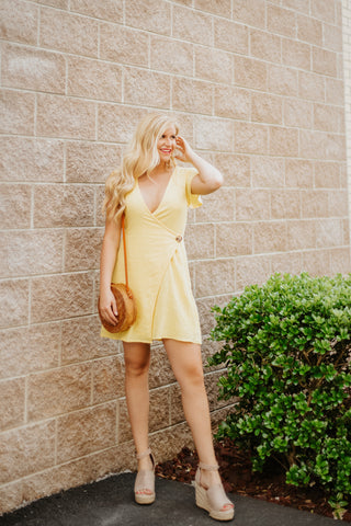 Wrapped In Hope Wrap Dress ~ Yellow