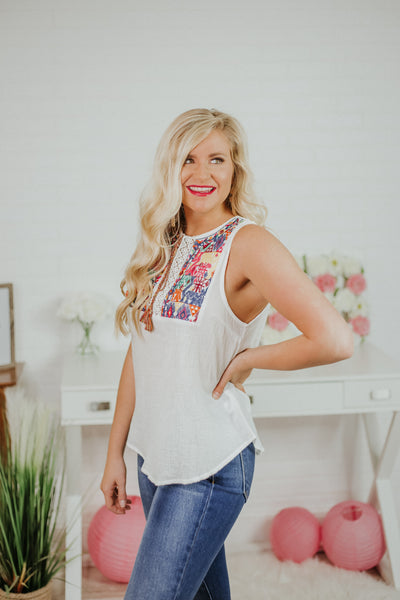 {Last Chance} Isabella Embroidered Tie Front Peasant Top ~ Off White