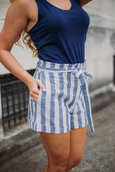 Stripe Linen High Waist Short ~ Navy