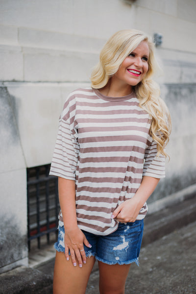 Jersey Girl Stripe Top ~ Mocha